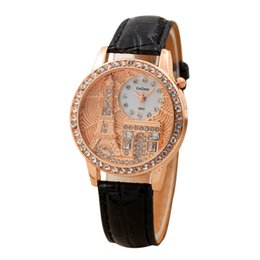 Female Dresses UK - Fashion Brand Women Rhinestone Female Watches Luxury Crystal Eiffel Tower Watch Ladies Leather Dress Quartz Gift Wristwatch P30