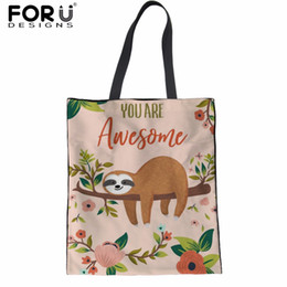 $enCountryForm.capitalKeyWord Canada - FORUDESIGNS Shopper Bags for Women Cute Animal Sloth Printed Linen Female eco Tote Shoulder Bags Mom Reusable Shipping 2018