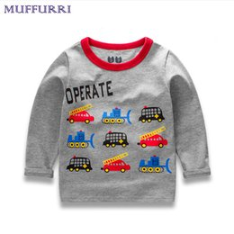boy cars t shirts 2019 - Muffurri new children t shirt boys clothes autumn baby boy pullover O-Neck cotton tee cartoon car printing for children