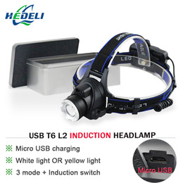 $enCountryForm.capitalKeyWord NZ - LED headlamp infrared sensor USB charging CREE XM-L2 XML-T6 waterproof induction head lamp fishing camping headlight 18650