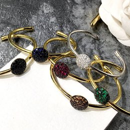 Wholesale New style Fancy coloured diamond cuff Bangle with mushroom shape accessories titanium steel Silver gold Bracelets for Women fashion Jewelry