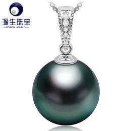 TahiTian pearls 18k online shopping - YS Luxury K White Gold Diamond Pendant Natural Black Tahitian Pearl Pendant