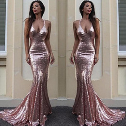 Ruffle pRom dResses Rose online shopping - Rose Gold Sequin Mermaid Prom Dresses Sparkle V Neck Spaghetti Straps Backless Gold Evening Gowns Criss Cross Back Special Occasion Dresses