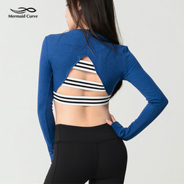 $enCountryForm.capitalKeyWord Australia - Mermaid Curve Sexy Women Back Hollow Out Crop Top Female Sports Fitness T-shirt Long Sleeve Tops Tee Autumn Running Yoga Shirts