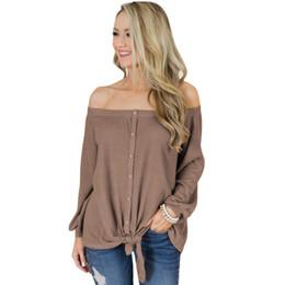$enCountryForm.capitalKeyWord Australia - 4 Color Spring Autumn Slash Neck Sexy Blouse Shirt Button Front Tie Detail Off-Shoulder Top Long Sleeve Blouse E251563