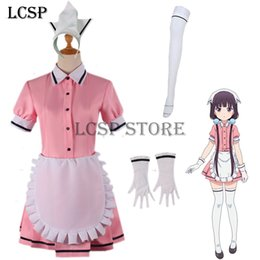 Cosplay Maid Outfits NZ - LCSP Blend S Sakuranomiya Maika Cosplay Costume Japanese Anime Pink Coffee Maid Uniform Suit Outfit Clothes