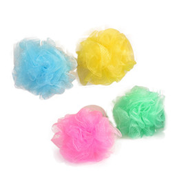 sponge balls UK - Wholesale New Mesh Colorful nylon bath flower Bathing Spa Shower Scrubber wash bath ball Colorful Bath Brushes Sponges 8g lin2231
