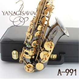 Wholesale Best quality new YANAGISAWA A-991 Eb Tune music instrument Alto saxophone Black Nickel Gold material super playing saxprofessional
