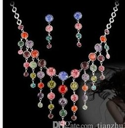 wonderful necklace Canada - wonderful purple colorful diamond crystal drops wedding set necklace earings (spwhy ngfhfh