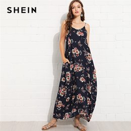 SHEIN Multicolor Vacation Boho Bohemian Beach Sexy Backless Pocket Side  Floral Cami Maxi Dress Summer Women Weekend Casual Dress 934438f537ef