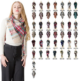 Discount oversize plaid scarf - Plaid Winter Scarf Ladies Triangle Plaid Scarf Cashmere Scarves Shawl Pashmina Fashion Tartan Scarf Oversize Blanket War