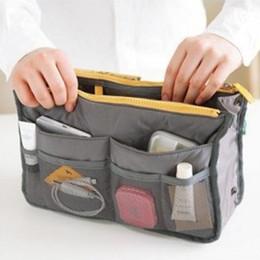 makeup tote bags 2019 - 2018 HOT Women Travel Insert Organizer Handbag Purse Large liner Lady Makeup Cosmetic Bag Travelling Bags Tote cheap mak