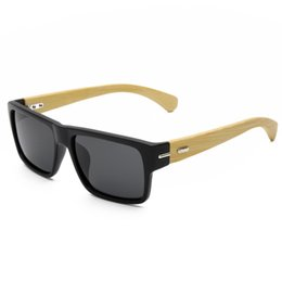 Bamboo Frames Wholesale UK - Fashion Rectangle Sunglasses High Quality Bamboo Legs Thick Eyeglasses Frames UV400 Protection Driving Sun Glasses For Women Men