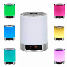 sensor bluetooth speaker NZ - LED Night Lights Bluetooth Speaker With Alarm Clock TF Card AUX-IN Touch Sensor LED Bedside Lamp + Dimmable Warm Light & Color Changing DY29