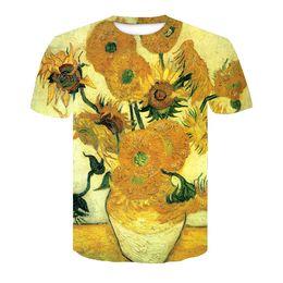 $enCountryForm.capitalKeyWord UK - 2018 New Fashion Womens Mens Summer Van Gogh sunflower Funny 3D Print Surf Squirtle Casual Short Sleeve Novelty T-shirts TX64