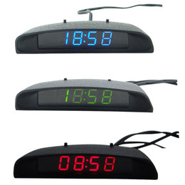 Car Led Clock Time NZ - Car Auto Digital led Electronic Time Clock + Thermometer + Voltmeter 3 In 1 three colors