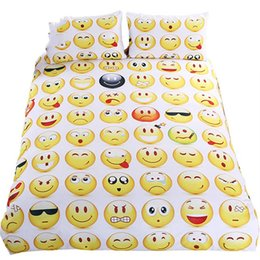 $enCountryForm.capitalKeyWord UK - Emoji Bedding Set Cute and Fashion Duvet Sheet Cover for kids Printed Bedlinen 3Pcs Twin Full Queen King Bedspreads