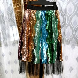 Wholesale sequins skirts for sale - Group buy Boho Inspired Sparkling Sequins Ladies Skirts womens sexy chic High Waist mesh Christmas party skirt Faldas Largas