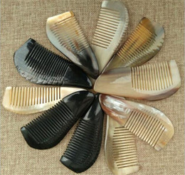 ox hair comb Australia - 100pcs Useful OX Horn Combs Pocket Tool Straight Hair Comb Natural Health Massage Brush Portable Handmade Craft Gift X097