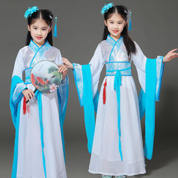 Girls Chinese Costumes Australia - girls chinese traditional hanfu dress ancient chinese opera tang han ming costume dynasty child clothing folk dance children kid