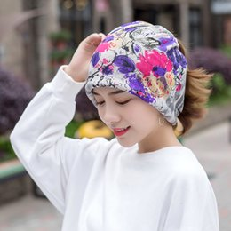 Star Skull Cap NZ - Summer multifunctional beanies headscarf new cotton yarn sun protection cap pregnant women month hat double use star flower hats