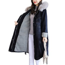 Discount female military jackets - plus size winter coat women's park Parkas Outwear Lamb Denim female jacket Military Hooded Thickening Cotton long C