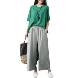17e1b47efd5 2018 Women Elegant Pants Cotton Linen Soft Wide Leg Pants Elastic Waist  Ankle-Length Solid Casual Loose Summer Trouser Plus Size