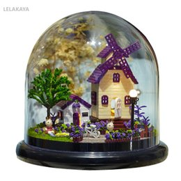 Discount small wooden houses - DIY Provence Farm Glass Ball Small Wooden Handmade Cottage Handcraft Doll House Kits Miniature Home Assembling Kids Grow