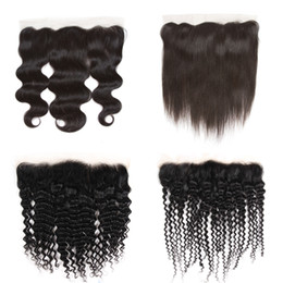 $enCountryForm.capitalKeyWord UK - Brazilian Virgin Silky Straight Lace Frontal Unprocessed Peruvian Indian Deep Water Body Wave Kinky Curly Human Hair Top Frontal Closures