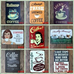 Discount antique wall crosses - Fashion Tin Poster Pub Home Wall Decoration Unique Style Coffee Tin Sign Paris Cafe Of All Evils 20*30cm Iron Paintings