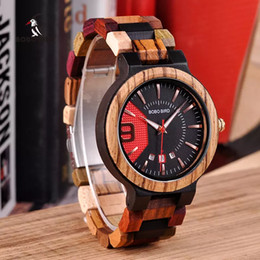 Wholesale BOBO BIRD Colorful Luxury Wooden Watches Men Timepieces Fashion Wood Strap Date Display Quartz Watch Ideal Gifts Items W Q13