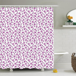 flower shower curtain 2019 - House Decor Shower Curtain Set Lilac Flowers Blossoms Spring Romantic Stylish Meadow Happy Fun Countryside Bathroom Acce