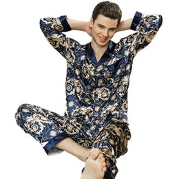 Luxury Silk Pajamas Men s Spring Satin Men Pyjama Sleepwear Long Sleeve  Shirt+Pants Home Clothes Suit Soft Nightgown For Male a674a90a8