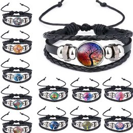 Wholesale Multicolor Tree of Life Time Gemstone Glass Leather Multilayer Wrap Bracelet Bangle Cuff Wristband Fashion Jewelry