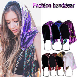 Wholesale glitter costumes resale online - 8styles Women Reversible Mermaid Sequin hat dancing Glitter Hood Hat Baggy Beanie Cap Festival Halloween Christmas Costume Caps FFA711