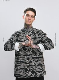 long sleeved chinese collared shirts UK - 2018 Autumn Tide brand tiger pattern camouflage Chinese style buckle men's stand collar loose long-sleeved shirt Men's jacket