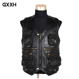 tops 7xl 2019 - 7XL 2018 New Men Waistcoat Genuine Leather Reporters Suit More Than Pocket Quinquagenarian Men Cow Leather Vest Tops Bra
