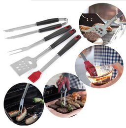 Grill tool sets online shopping - Stainless Steel Barbecue Tong Brush Fork BBQ Grill Tool Set Steak Fork Roasting Grill Tools Outdoor Gardgets OOA5041