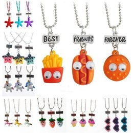 $enCountryForm.capitalKeyWord Australia - Best Friends Forever Pendant Cute Child Jewelry Emulation Resin Burger Hot Dog Food Necklace Cherry Ice Cream Jewelry Set BFF Necklaces