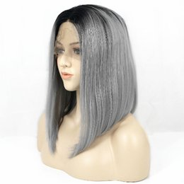 ombre lace front wig bob 2019 - Free Shipping 14 Inch Ombre Gray Short Bob Wig Heat Resistant Glueless Synthetic Lace Front Wigs For Women Natural Hairl