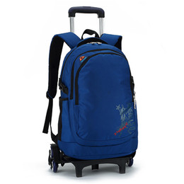 Children sChool trolley bags online shopping - 35L Trolley School Bag Camping Travel Luggage Backpack Children Kids Student Bags With Wheels fashion leisure travel backpack