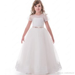 41b437b2883 Lovely Bubble Sleeves Lace Appliques Flower Girl Dresses with Bow Sash  Button Back Girl Tulle Wedding Party Dress 2-12 Year Old