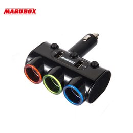 Discount car lighter sockets - MARUBOX M10 12v-24v Rechargeable Electronic Dual USB Car Charger Power Adapter Auto 3 Ways Splitter Cigarette Lighter So
