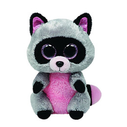 """Chinese  Ty Beanie Boos 6"""" 15cm Rocco the Raccoon Plush Regular Soft Big-eyed Stuffed Animal Collection Doll Toy manufacturers"""