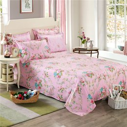 Pink Green Girls Bedding Canada - Korean style floral girl bed sheets peony print flowers bedding sets pink twin full queen king size bedspread 100% cotton