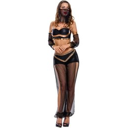 Halloween Costumes For Adults Women UK - Hot Sexy 4pcs Set Adult Belly Dancer Costume For Women Accessories Halloween LC8939 Fantasias Femininas Para Festa Adulto