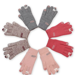 Dark Cycles NZ - Woollen gloves women winter warmth han version of cute student cartoon with thick wool plush five fingers can touch screen cycling