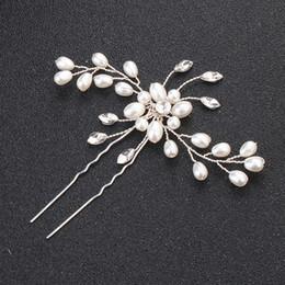 Silver diamond hair bowS online shopping - Hair Accessories hairpin pin U Clip Wedding Wedding Hair headwear pin clip diamond drill flower pin factory direct sales