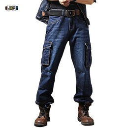 knee length pants for men UK - Idopy Men`s Casual Motorcycle Workwear Multi Pockets Denim Biker Cargo Jeans Pants For Men Plus Size S1012