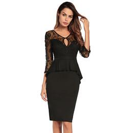 98cfde3c6 Vestido ajustado de las mujeres atractivas parches de encaje volantes tres  cuartos Sheer Mesh manga Peplum vestido delgado elegante Midi lápiz vestido  negro